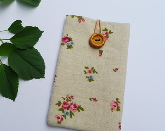 Phone Sleeve, iPhone SE Case, iPhone Cover, iPhone 5S Sleeve - Linen Vintage Rose