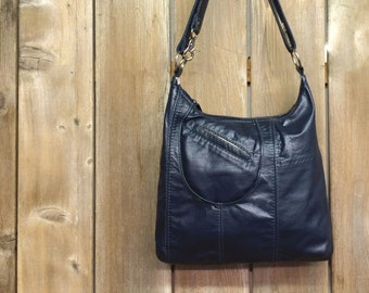 Olivia: Navy reclaimed leather handbag