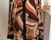 Vintage Abstract Blouse in Brown, Beige, Black and Muted Peach with Black Collar and Cuffs, Looks New!