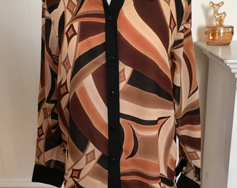 Vintage 80s Abstract Print Blouse Long Sleeve Brown, Beige, Black & Muted Peach with Black Collar and Cuffs, Looks New!