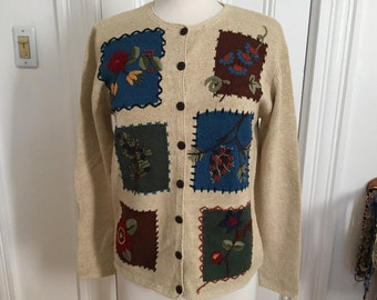 Vintage Cotton Ramie Cardigan Sweater by Classic Elements, Embroidered Flowers, S, New w/extra buttons