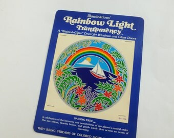 Illuminations Rainbow Light Transparency Stained Glass Window Decal Sailing Free 1979
