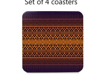 Tribal coaster set, drink coasters, set of 4, purple, orange table coasters, cork back coasters, table decor, hostess gift, home decor