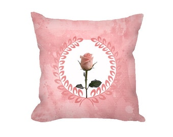 Throw Pillow Cover, floral pillow cover, rose quartz pink, pink rose, pink home decor, decorative pillow cover, accent pillow, nursery decor