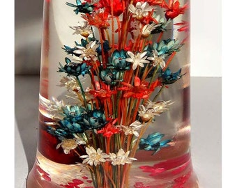 Red White and Blue Straw Flowers Encased in Resin Ohio USA Paperweight Office Supplies Paper Handling Paperweights