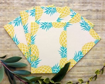 Pineapple Themed Set of 6 5x7 Inch Letterpress Printed Note Cards on Thick Cream Paper