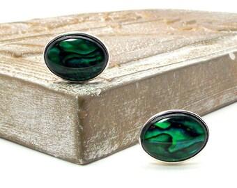 Paua Shell Cuff Links - Emerald Paua Shell Cuff Links II - Green Cuff Links - Oval