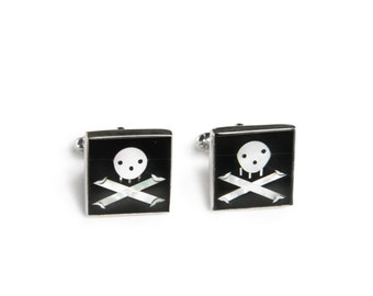 Skull Black Onyx and Mother of Pearl Sterling Silver Cufflinks