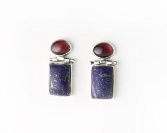 Vintage Mod Garnet and Lapis Sterling Silver Post Earrings
