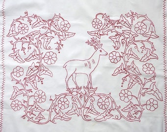 Antique Redwork Pillow Sham - Needlepoint Lay Over Cover Cotton - Deer Stag Floral - Antique Bedding Bedroom Decor