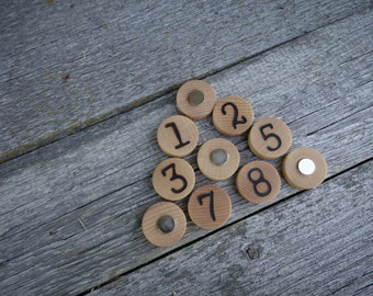 Number magnets, fridge magnets, wooden numbers, office decor, Montessori math, wooden toy