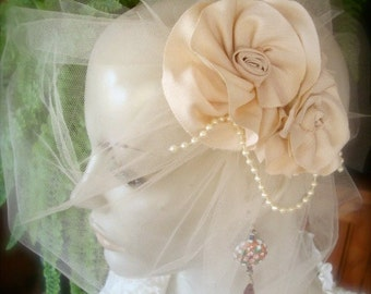 Wedding Headpiece pink flower Bridal Hairpiece cream  fascinator bride silk flowers