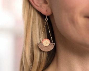 Ilsa Earring in Coral | Geometric Art Deco Inspired Dangle Earrings for Her