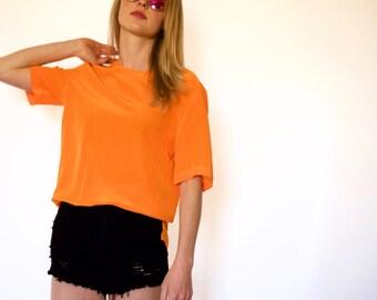 90s Neon Orange Boxy Short Sleeve Slinky Blouse xs s