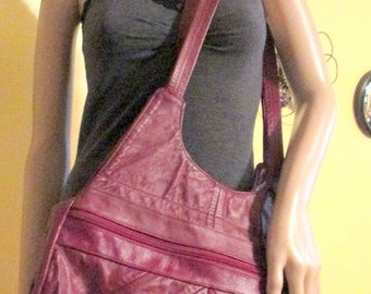 Extra Large Leather Patchwork Boho Shoulder Bag.  Large Hippie Patchwork Shoulder Bag