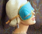 FREE SHiPPiNG! Breakfast at Tiffanys Holly Golightly Style SET! Teal & Gold Sleep Mask and Tassel Ear Plugs