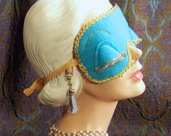 Breakfast at Tiffanys Holly Golightly Style Teal & Gold Sleep Mask and Tassel Ear Plugs SET