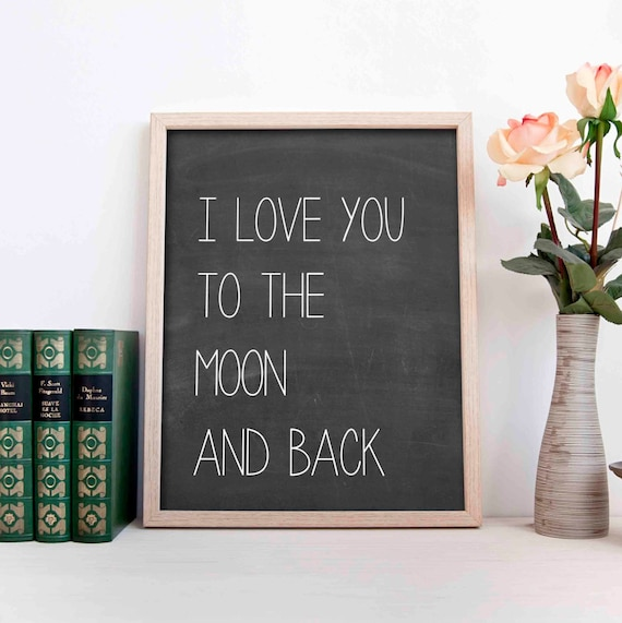 items similar to i love you to the moon and back wall art. Black Bedroom Furniture Sets. Home Design Ideas