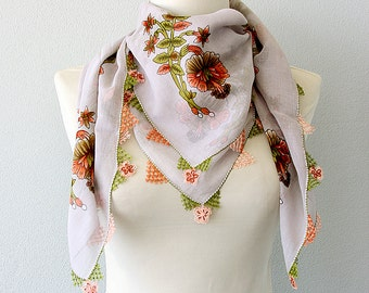 Needle lace scarf Cotton gauze scarf Turkish traditional head scarves Summer scarf Floral Ferns handmade Tatting needlework square scarf