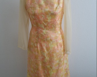 1960s Shift Dress, Easter Dress, Fitted Dress, Sheer Sleeves, Cocktail Dress, Floral Dress, Size Medium/Large, #59589