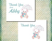 Baby Shower Thank You Cards, Baby Birthday, Birth Thank You, Matching Banner, Custom Invitation, Umbrella Shower or Floral Decoration
