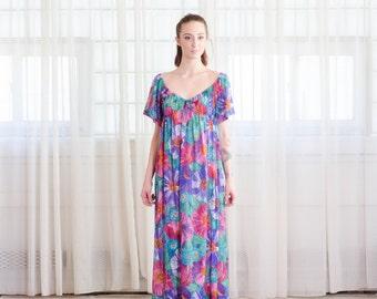 1970s Floral Dress - Vintage 70s Maxi Dress - Tropicala Dress