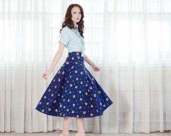 50s Novelty Print Skirt - Vintage 1950s Circle Skirt - Minstrels Skirt