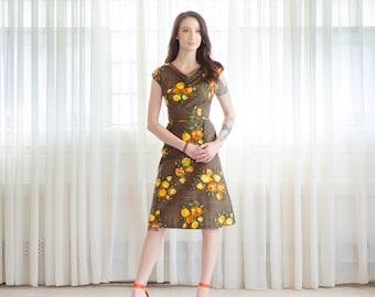 1960s Floral Dress - Vintage 60s Rose Print Dress - Tewksbury Dress