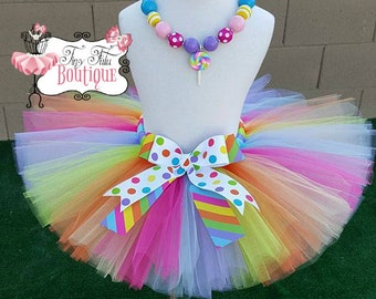 POLKA DOT CANDY- Polka dot and Striped tutu with hairbow:  Newborn-5T
