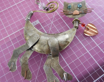 Industrial Techno Romantic Cat Ornament or possibly Large Single Earring