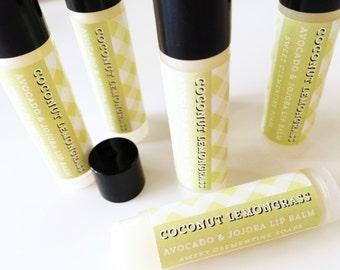 Coconut Lemongrass Lip Balm, Moisturizing Avocado and Jojoba Oil Lip Balm, Coconut Lip Balm, Lemon Grass Lip Balm, Lemongrass Lip Balm