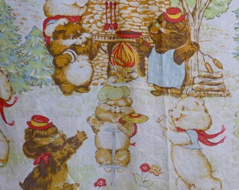 Vintage 1980s Cute Bear Village Scene // 70s 80s Fitted Bed Sheet