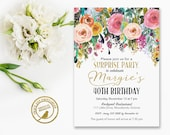 Surprise Birthday Invitation  | 40th Surprise Birthday invitation | Watercolour Flower | 30th, 21st, 50th, 60th, 70th | Printable  3064