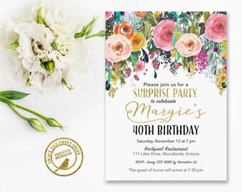 Surprise Birthday Invitation    40th Surprise Birthday invitation   Watercolour Flower   30th, 21st, 50th, 60th, 70th   Printable  3064