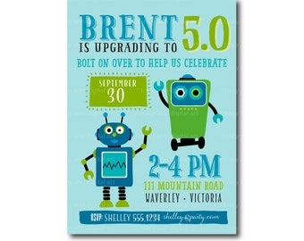 Robot Party Invitation |  Robot Birthday Invite |  Outer Space  Birthday | Printable DIY | 1480