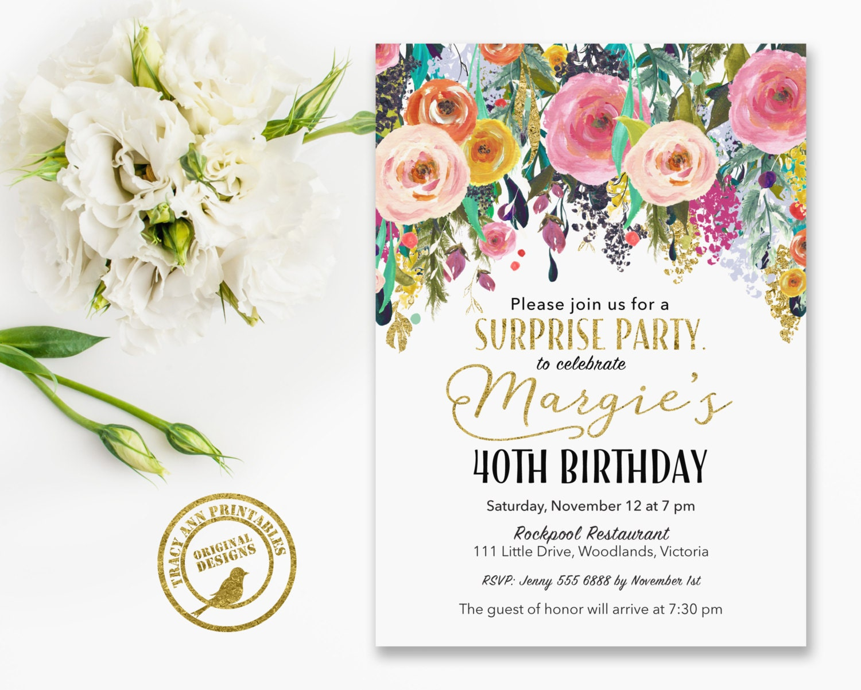 Surprise Birthday Invitation 40th Surprise Birthday