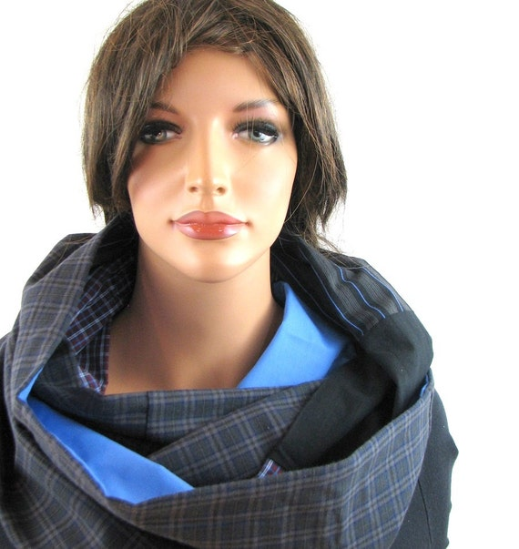 Chunky Scarf - Cowl Neck Scarf - Circle Scarf - Loop Scarf - Plaid Infinity Scarf - Hipster Scarf - Eternity Scarf - Upcycled Clothing