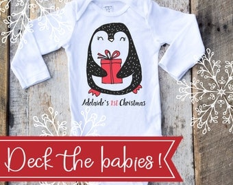 Personalized First Christmas Girl Onesies®, Girl 1st Christmas, Penguin Onesie, Personalized Christmas Gift, Baby Singlet, Christmas Onesie