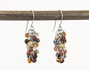 OUT OF TOWN - Chocolate Caramel Cluster Earrings - Multi Color Variegated Brown Small Short Cluster Dangle Earrings Simple Casual Neutral
