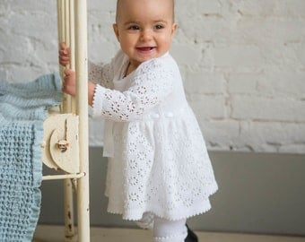 Baptism dress Knit Baby girl Brigh white Dress Flower girls dress First birthdays dress Coming home dress Baby girl clothes