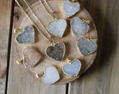 Small Heart Druzy Pendant Necklace/ Druzy Stone Necklace/ Delicate Druzy Gemstone Necklace Heart Stone Valentine Love Heart Gemstone (NPG17)
