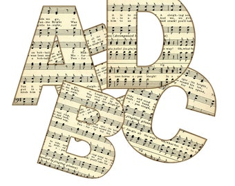 Sheet Music Digital Alphabet, Alphabet Clipart, Printable Vintage Sheet Music Letters + Punctuation - 4 in png format