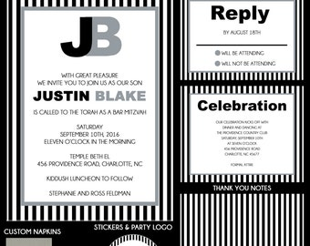 Black, White and Grey Striped Bar Mitzvah Invitations - Custom Envelope Addressing - RSVP Card - Save the Date - Thank You Notes