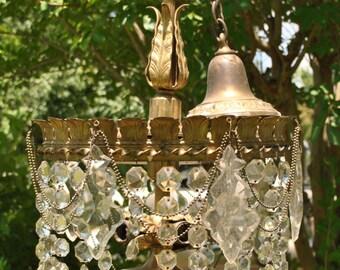 Vintage LARGE Basket Chandelier 5 Bulb for Restoration with Many of the Prisms