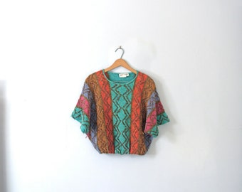 Vintage 70's bright colorful cropped sweater, crop sweater, size medium