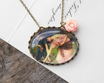 Gather ye Rosebuds Necklace. John William Waterhouse. (magnifying pendant art book illustration jewelry antique romantic jewellery)