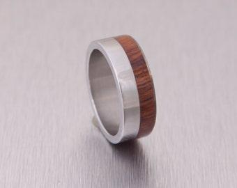 Titanium Ring RING SIZE 9 mens wedding band  wedding ring mens wood wedding band Titanium and wood ring metal #C