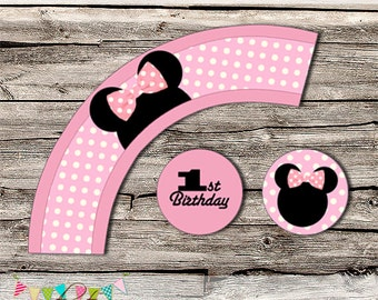 Minnie Mouse Box Cupcake Wrapper - Mickey, Minnie Mouse - Printable - DIY - Digital File - Wedding - INSTANT DOWNLOAD