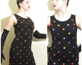 Vintage 1990s Bodycon Black Party Dress with Stars / 90s Sleeveless Dress in Black Wool / Medium