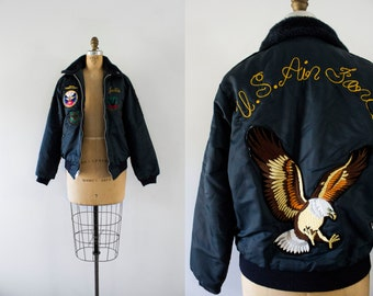 1970s Fly Like An Eagle air force patchwork jacket / 70s Timber King